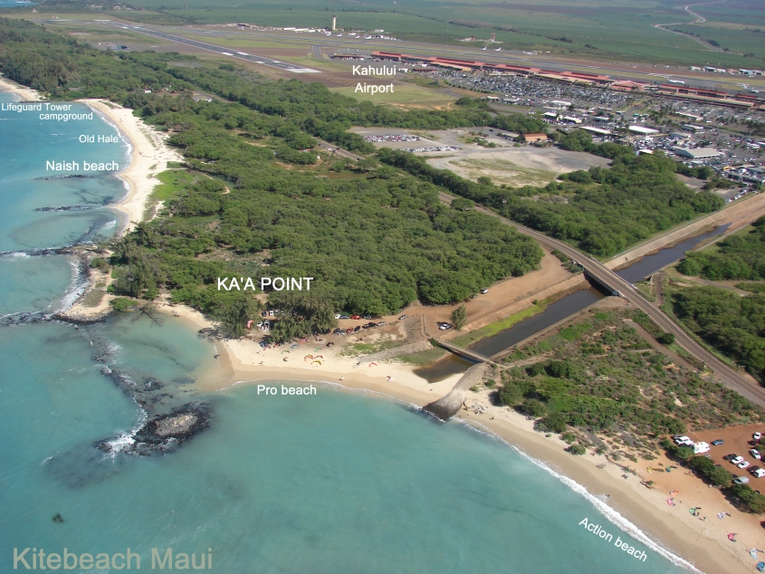 This is the western end of Kitebeach. The beach adjacent to the dirt parking lot is used by the kite schools. Kite Beach, at Kanaha Beach Park, Maui, Hawaii. Aerial View from www.bluehawaiian.com Aerial Photo of Kite Beach, Kanaha, photo courtesy of www.bluehawaiian.com