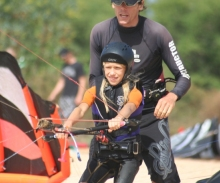Kiteboarding Instructor and Young Student. www.actionkiteboarding.net