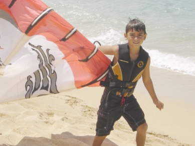 A young Kiteboarding Student www.actionsportsmaui.com